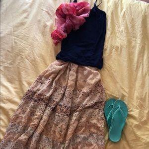 Blue Sky boho floral boho tiered maxi skirt